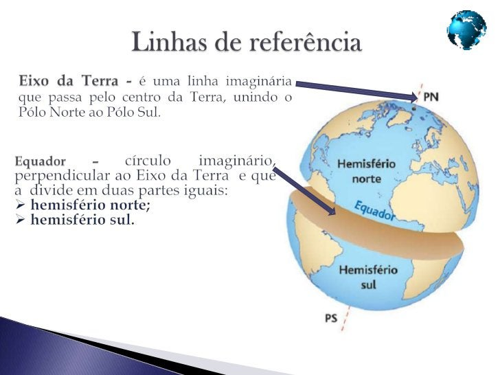 Meridianos - Círculos que passampelos    pólos e são perpendiculares aoequador, dividindo a Terra em duaspartes iguais:he...