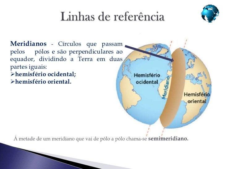 Paralelos - círculos paralelos aoequador. O equador e os meridianos são círculosmáximos porque dividem a Terra em duaspart...