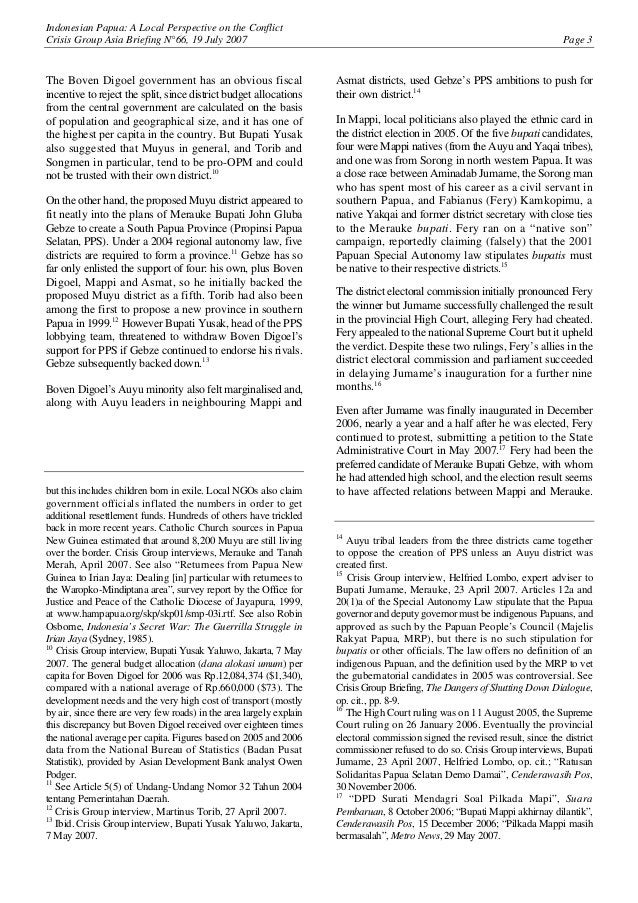 Indonesian Papua: A Local Perspective on the Conflict Crisis Group Asia Briefing N°66, 19 July 2007 Page 3 The Boven Digoe...