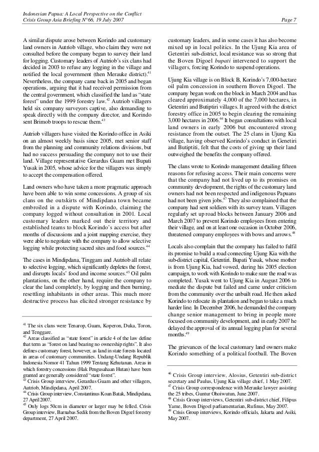 Indonesian Papua: A Local Perspective on the Conflict Crisis Group Asia Briefing N°66, 19 July 2007 Page 7 A similar dispu...