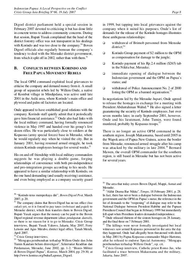 Indonesian Papua: A Local Perspective on the Conflict Crisis Group Asia Briefing N°66, 19 July 2007 Page 8 Digoel district...