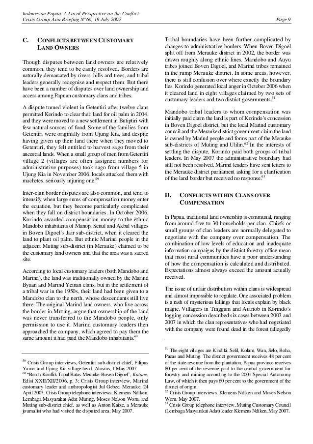Indonesian Papua: A Local Perspective on the Conflict Crisis Group Asia Briefing N°66, 19 July 2007 Page 9 C. CONFLICTS BE...