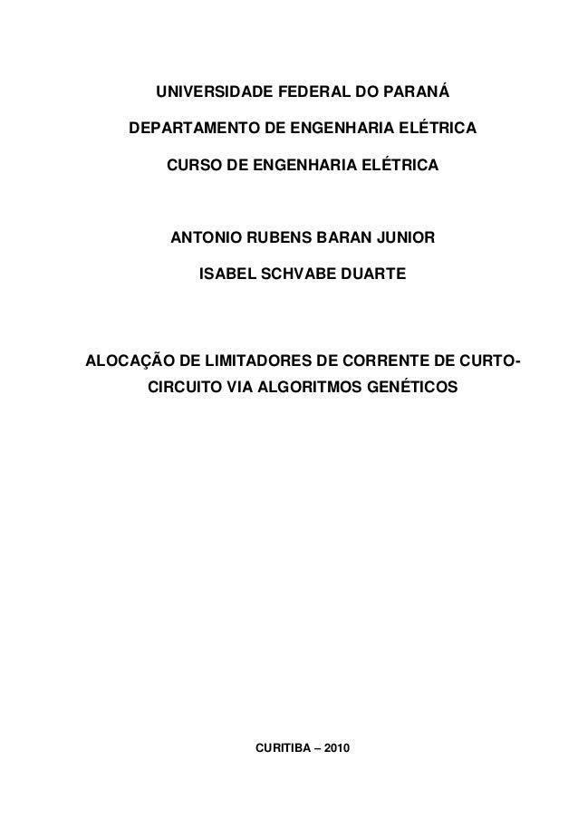 UNIVERSIDADE FEDERAL DO PARANÁ    DEPARTAMENTO DE ENGENHARIA ELÉTRICA        CURSO DE ENGENHARIA ELÉTRICA        ANTONIO R...
