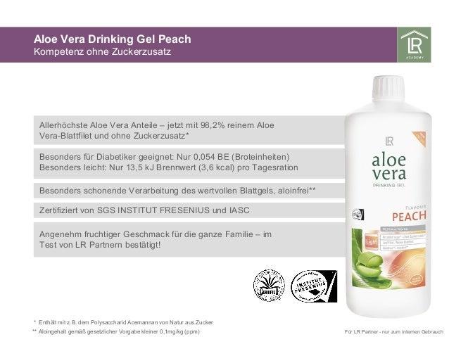 Aloe Vera Drinking Gel Peach Kompetenz ohne Zuckerzusatz * Enthält mit z.B. dem Polysaccharid Acemannan von Natur aus Zuck...