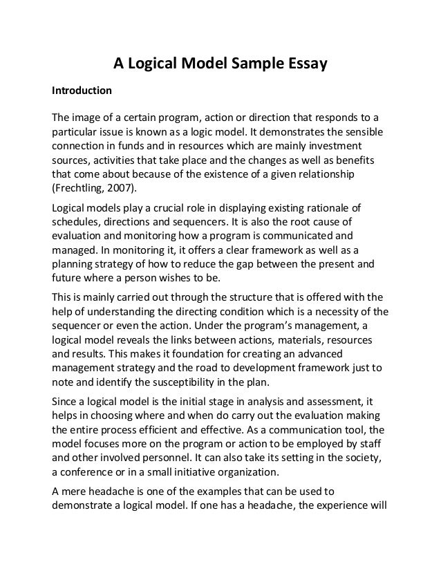 sample essay a logical model sample essay slideshare a logical model sample essay introduction the image of a