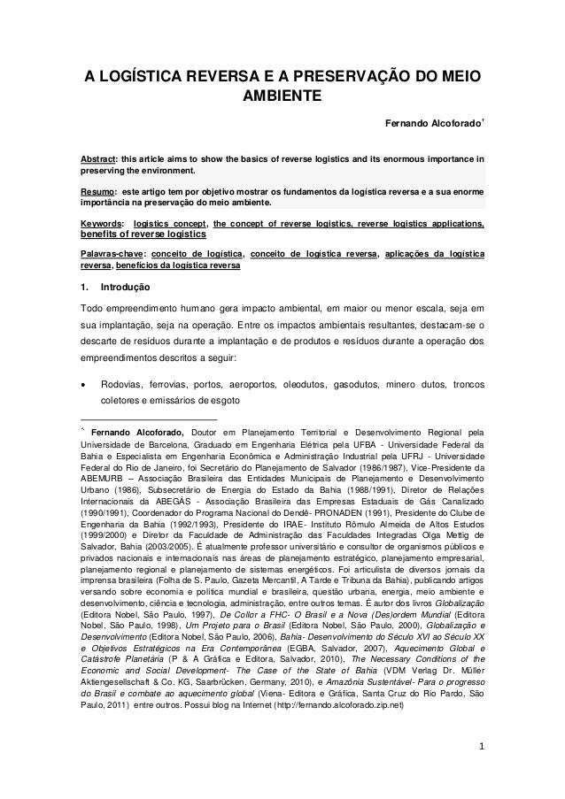 A LOGÍSTICA REVERSA E A PRESERVAÇÃO DO MEIO                 AMBIENTE                                                      ...
