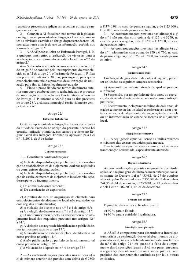 Diário da República, 1.ª série — N.º 166 — 29 de agosto de 2014 4575  respetivos processos e aplicar as respetivas coimas ...