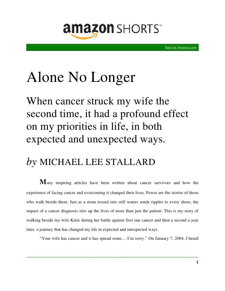 Back to Amazon.com     Alone No Longer When cancer struck my wife the second time, it had a profound effect on my prioriti...