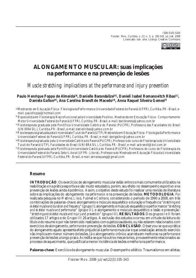 ALONGAMENTO MUSCULAR: suas implicações na performance e na prevenção de lesões título Muscle stretching: implications at t...