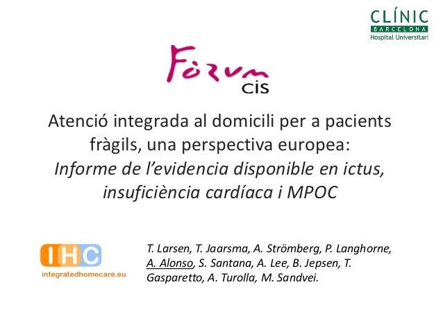Atenció integrada al domicili per a pacients      fràgils, una perspectiva europea: Informe de l'evidencia disponible en i...