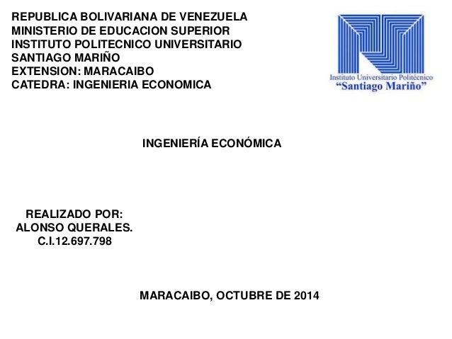 REPUBLICA BOLIVARIANA DE VENEZUELA  MINISTERIO DE EDUCACION SUPERIOR  INSTITUTO POLITECNICO UNIVERSITARIO  SANTIAGO MARIÑO...