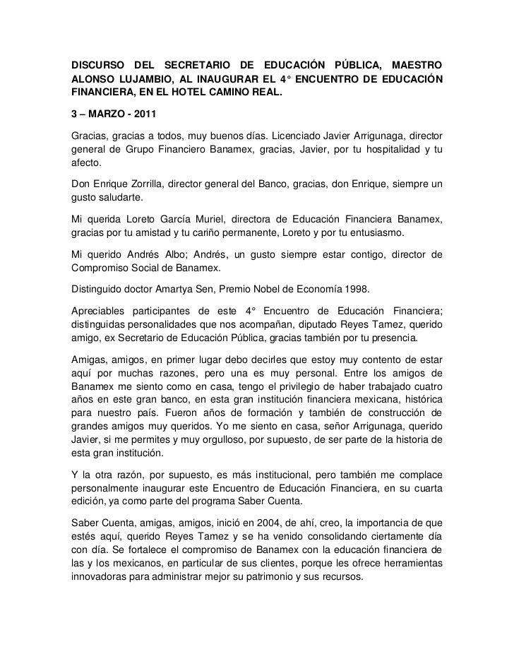 DISCURSO DEL SECRETARIO DE EDUCACIÓN PÚBLICA, MAESTROALONSO LUJAMBIO, AL INAUGURAR EL 4° ENCUENTRO DE EDUCACIÓNFINANCIERA,...