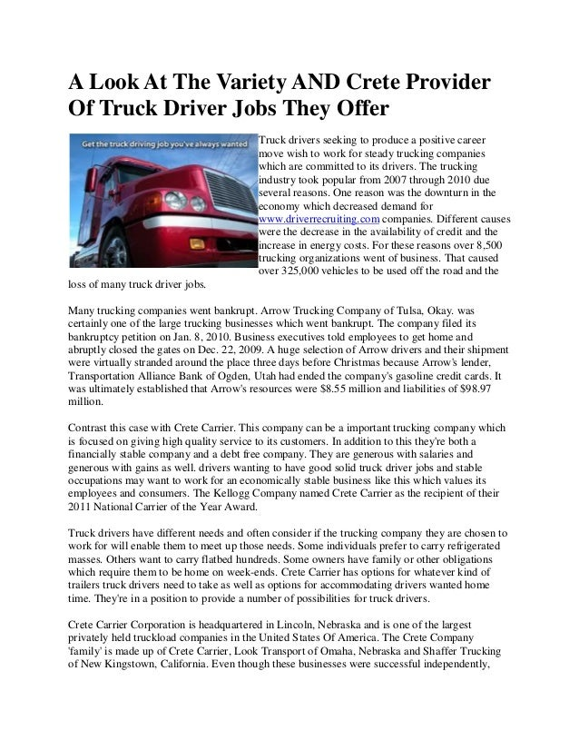 A Look At The Variety And Crete Provider Of Truck Driver