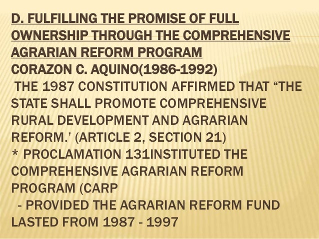 meaning of the state shall promote comprehensive rural development and agrarian reform