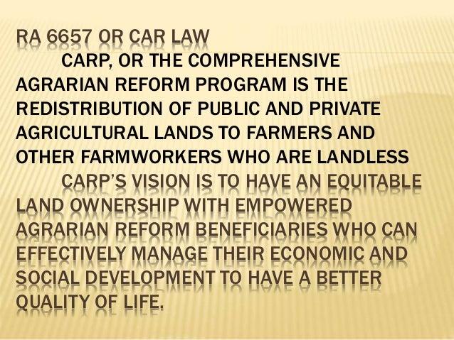 carp comprehensive agrian reform program Ang komprehensibong programa sa repormang pansakahan (comprehensive agrarian reform program na mas kilala bilang carp) ang batas ng.