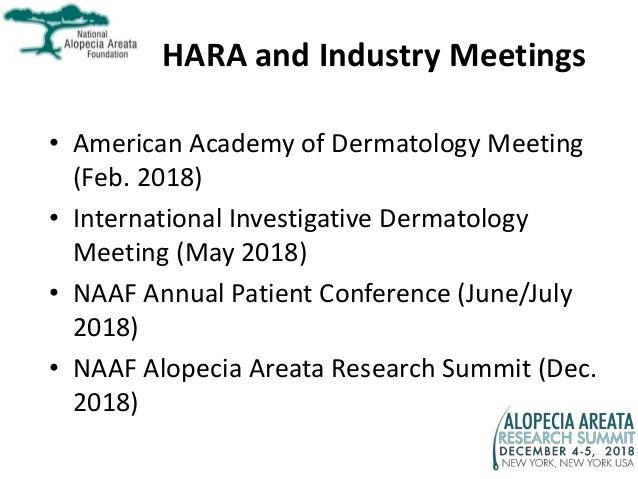 HARA and Industry Meetings • American Academy of Dermatology Meeting (Feb. 2018) • International Investigative Dermatology...