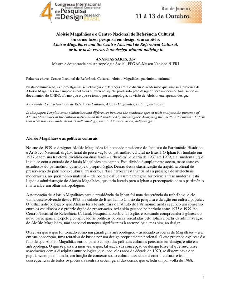 Aloísio Magalhães e o Centro Nacional de Referência Cultural,                          ou como fazer pesquisa em design se...