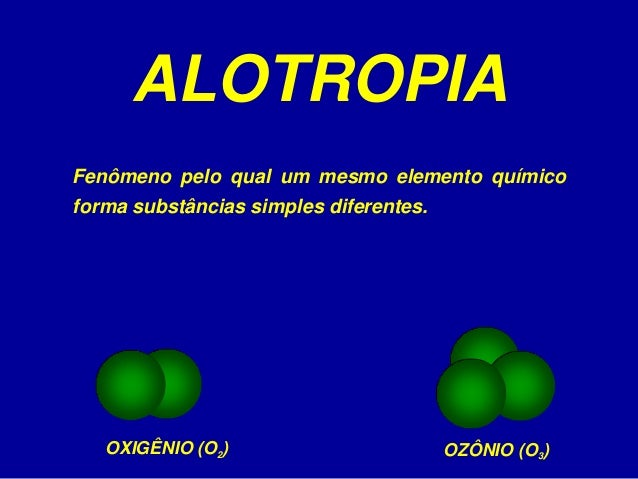 ALOTROPIA OXIGÊNIO (O2) OZÔNIO (O3) Fenômeno pelo qual um mesmo elemento químico forma substâncias simples diferentes.