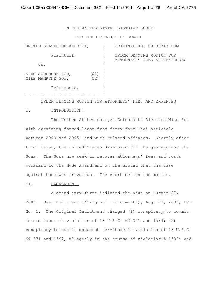Case 1:09-cr-00345-SOM Document 322   Filed 11/30/11 Page 1 of 28   PageID #: 3773                   IN THE UNITED STATES ...