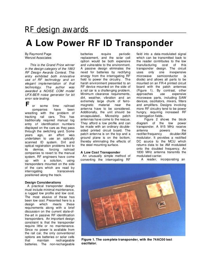 RF design awardsA Low Power RF ID TransponderBy Raymond Page                           batteries       require      period...