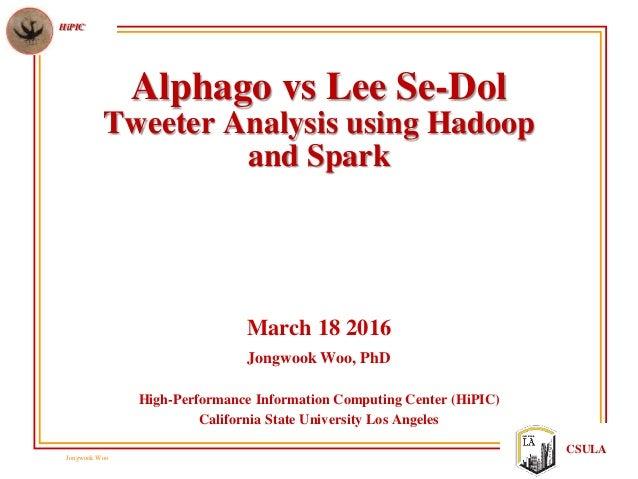 Jongwook Woo HiPIC CSULA Alphago vs Lee Se-Dol Tweeter Analysis using Hadoop and Spark March 18 2016 Jongwook Woo, PhD Hig...