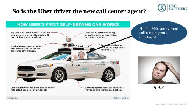 So is the Uber driver the new call center agent? Hi, I'm Mila your virtual call center agent… on wheels! Huh? © 2017 CKC P...