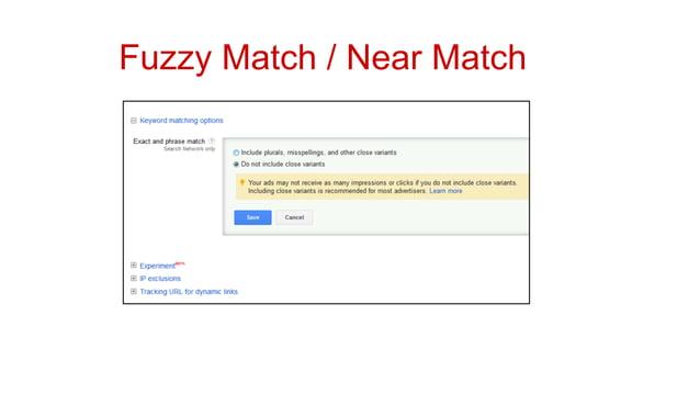 Fuzzy Match / Near Match
