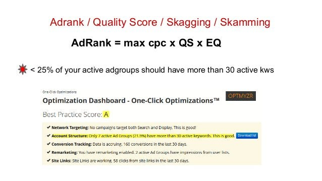 Adrank / Quality Score / Skagging / Skamming AdRank = max cpc x QS x EQ < 25% of your active adgroups should have more tha...