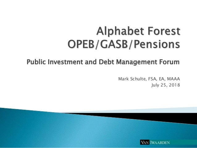 Public Investment and Debt Management Forum Mark Schulte, FSA, EA, MAAA July 25, 2018