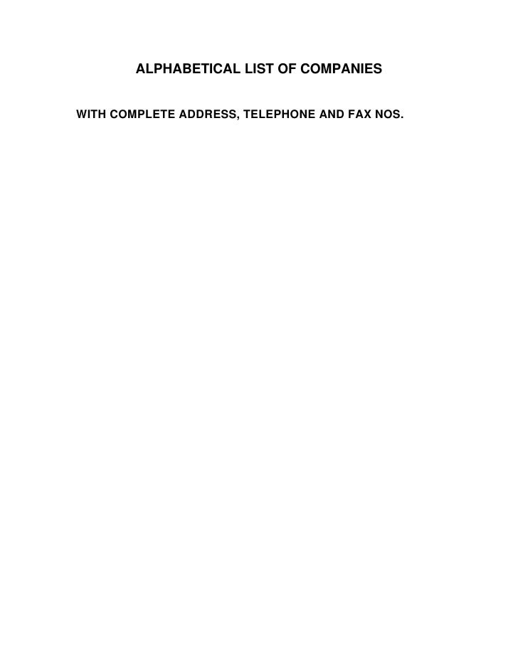 ALPHABETICAL LIST OF COMPANIESWITH COMPLETE ADDRESS, TELEPHONE AND FAX NOS.