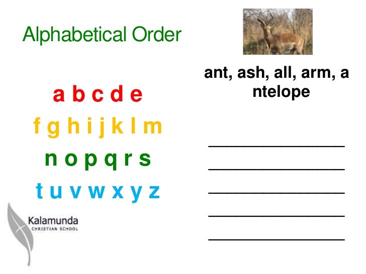 how to arrange in alphabetical order in ppt
