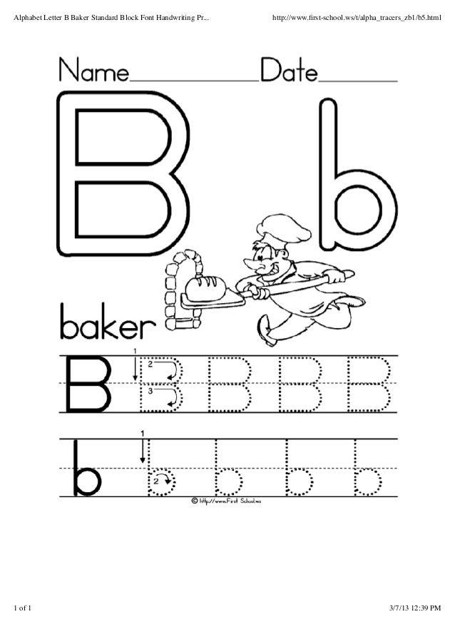 graphic regarding Letter B Printable Worksheets referred to as Alphabet letter b baker regular block font handwriting