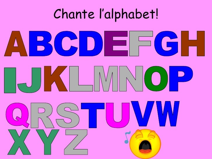 Chante l'alphabet! A B C E I F G H N J K L M T O P Q R S D U V W X Y Z