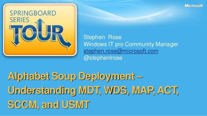 Stephen  Rose<br />Windows IT pro Community Manager <br />stephen.rose@microsoft.com<br />@stephenlrose<br />Alphabet Soup...