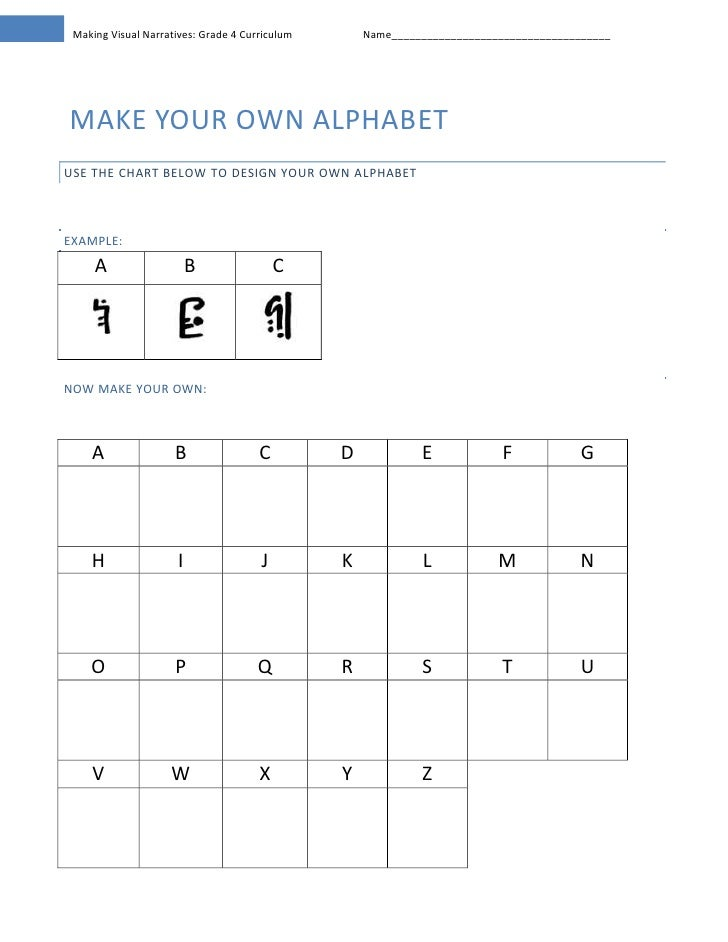 Make your own alphabet<br />Use the chart below to design your own alphabet<br />Example:<br />ABCcenter66040center66040ce...