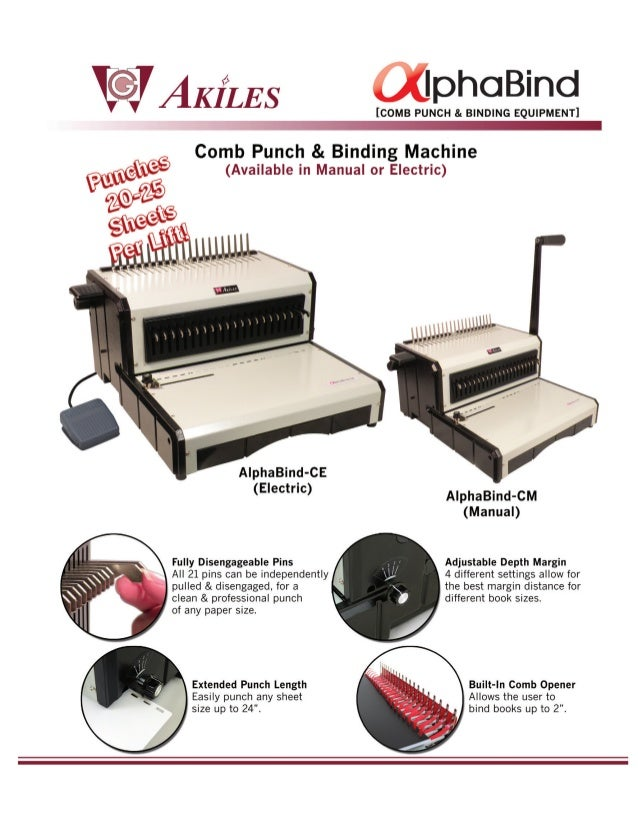 AlphaBind-CM Akiles Comb Binding Machine by Printfinish com