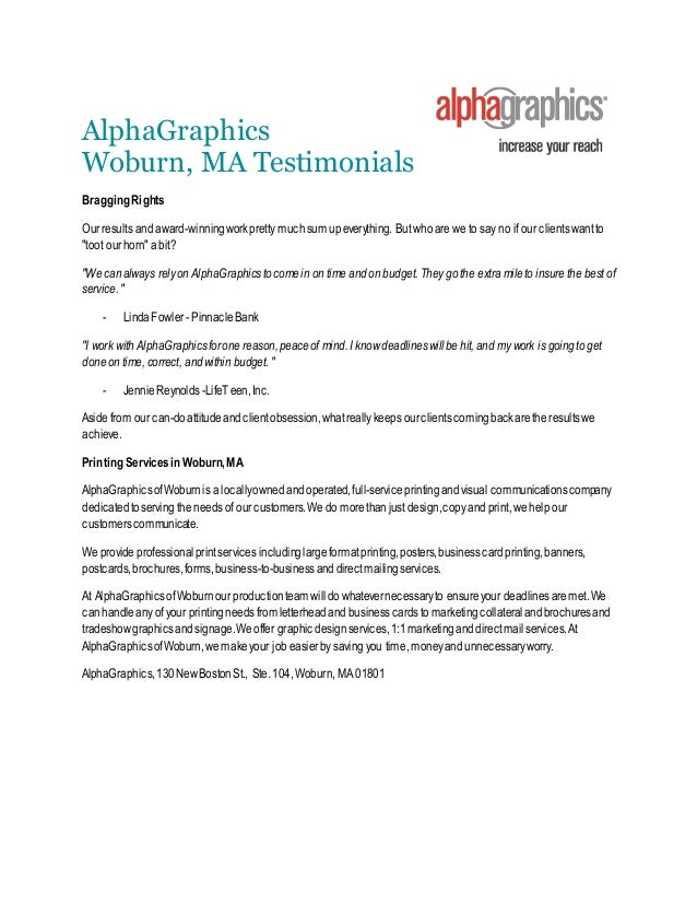 Print service testimonials alphagraphics woburn ma alphagraphics woburn ma testimonials bragging rights our results and award winning work pretty much colourmoves