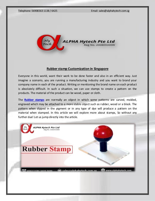 Rubber stamp Customization Singapore