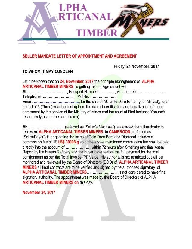 19 Lom et Djerem , Batouri East Region , Bertoua Cameroon Tel: +237 669681839 SELLER MANDATE LETTER OF APPOINTMENT AND AGR...