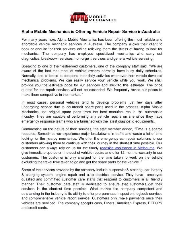 Alpha Mobile Mechanics Is Offering Vehicle Repair Service In Australi