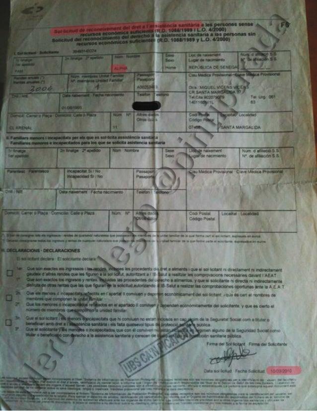 Alpha Pam solicitud de tarjeta sanitaria en Can Picafort.