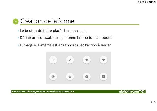 31/12/2015 113 Formation Développement avancé sous Android 5 alphorm.com™© Création de la forme • Le bouton doit être plac...