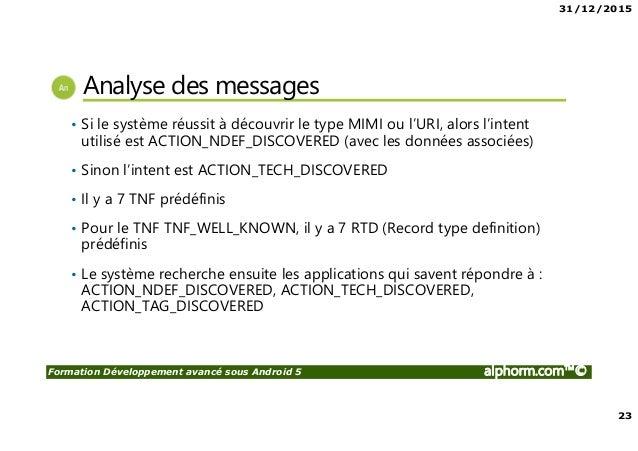 31/12/2015 23 Formation Développement avancé sous Android 5 alphorm.com™© Analyse des messages • Si le système réussit à d...