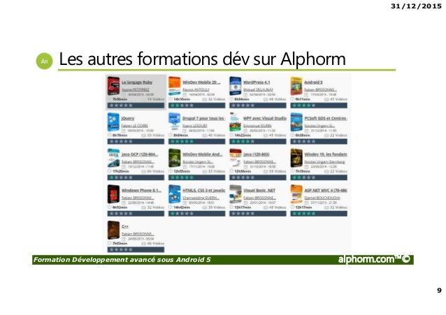 31/12/2015 9 Formation Développement avancé sous Android 5 alphorm.com™© Les autres formations dév sur Alphorm