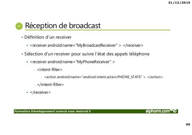 31/12/2015 99 Formation Développement avancé sous Android 5 alphorm.com™© Réception de broadcast • Définition d'un receive...
