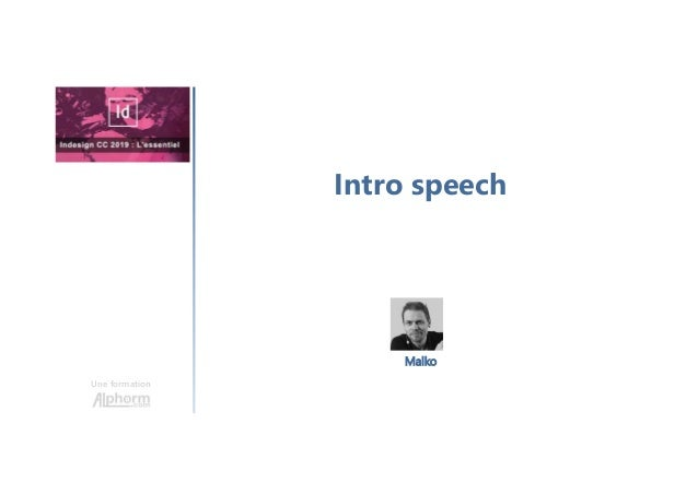 Intro speech Une formation Malko