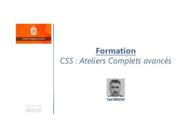 Formation CSS : Ateliers Complets avancés Une formation Carl BRISON