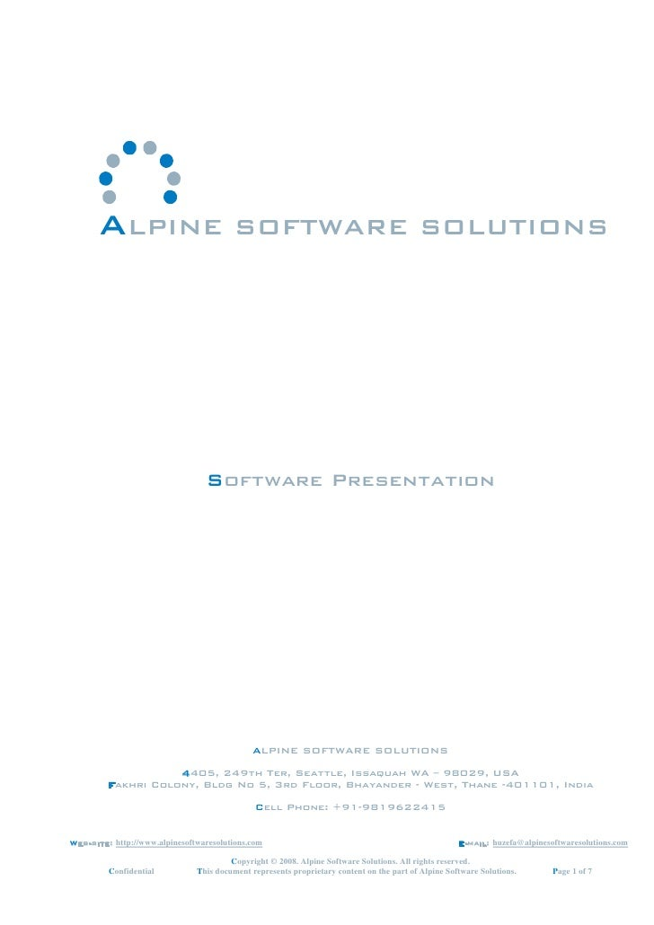 ALPINE SOFTWARE SOLUTIONS                                      Software Presentation                                      ...