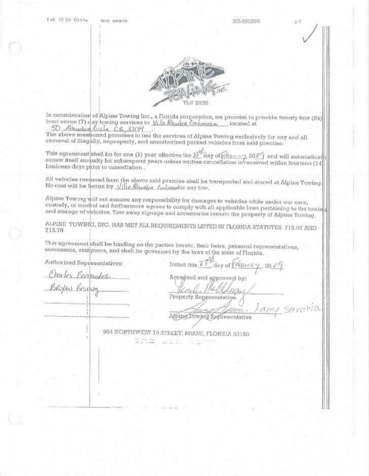 Alpine Towing Contract - Villa Alhambra