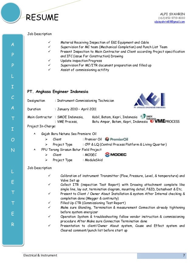 instrument commissioning technician resume